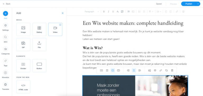 Stap 4: inhoud en pagina's toevoegen in Wix